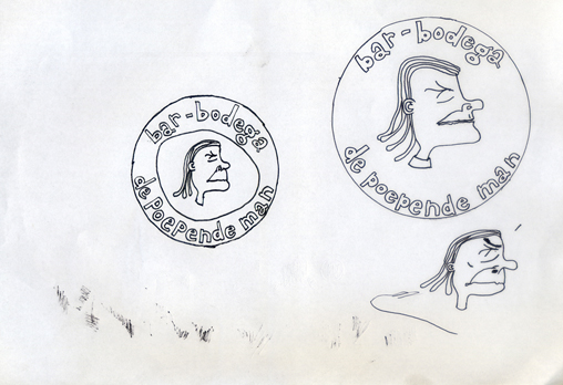 bar-bodega de poepende man (logo schets, idee uit 1998)